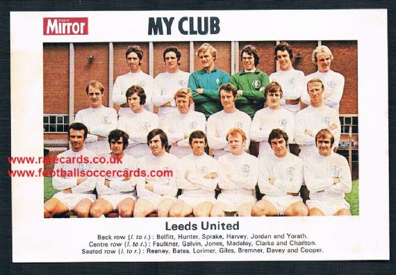 1970 My Club Daily Mirror postcard-size card Leeds United